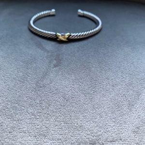 Authentic David Yurman X Bracelet 14k and Silver